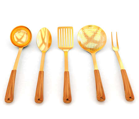 sizzle: gold cutlery on white background  Stock Photo