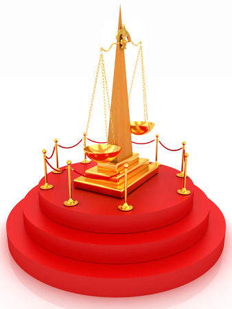 Gold scales of justice on 3d carpeting podium with gold handrail