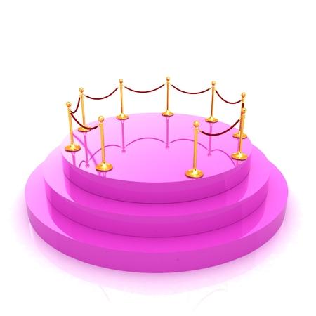 handrail: 3D podium with gold handrail