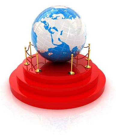 Earth on podium on a white background  photo