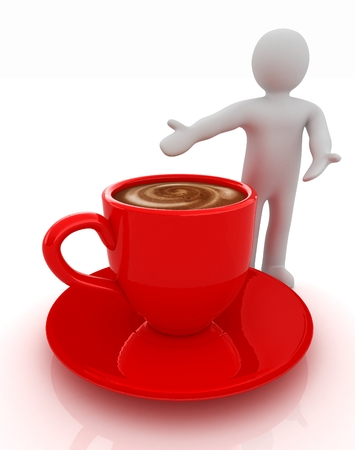 3d people - man, person presenting - Mug of coffee with milk Reklamní fotografie - 29551014