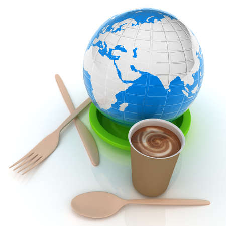 Coffe in fast-food disposable tableware and earth photo