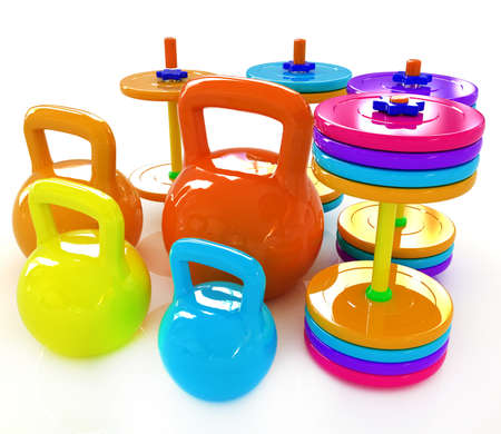 kilograms: Colorful weights and dumbbells on a white background Stock Photo