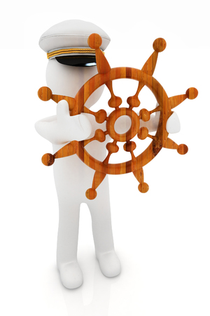 Sailor with wood steering wheel and earth. Trip around the world concept on a white background photo