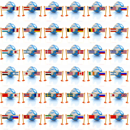 Set of three-dimensional image of the flags of world on a white background  photo