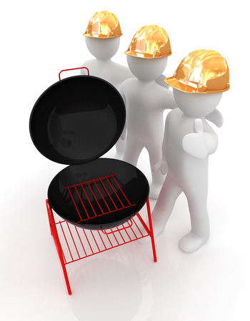 man's thumb: 3d mans in a hard hat with thumb up and barbecue grill. On a white background