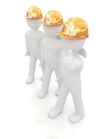 man's thumb: 3d mans in a hard hat with thumb up. On a white background