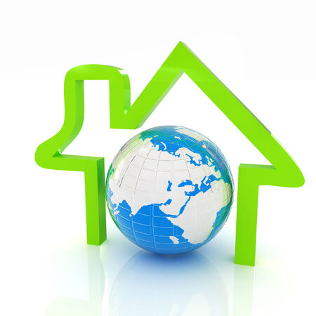 3d green icon house, earth on white background  Stock Photo