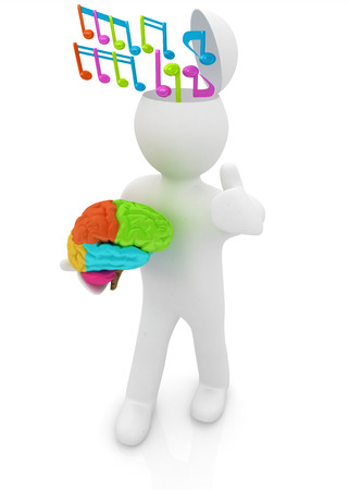 3d people - man with half head, brain and trumb up. Ð¡omposer concept with colorfull note  photo