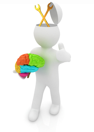 plummer: 3d people - man with half head, brain and trumb up. Service concept with wrench