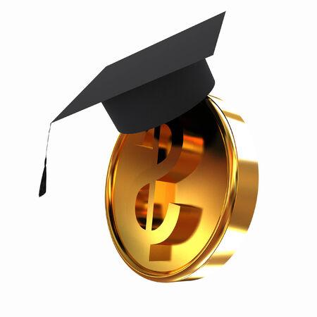 scholar: Graduation hat on gold dollar coin Stock Photo