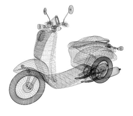 Vintage Retro Moped. 3d model photo