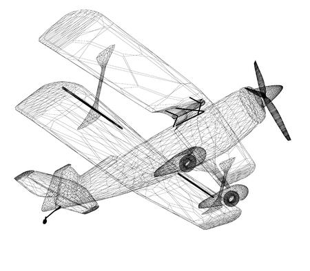 retro airplane isolated on white  photo