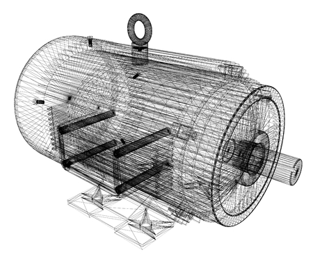 Modèle 3D d'un moteur électrique Banque d'images - 31057277