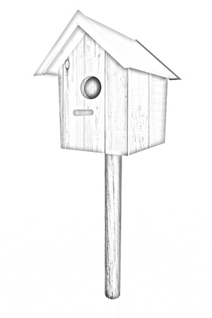 Nest box birdhouse on a white background. Pencil drawing  photo