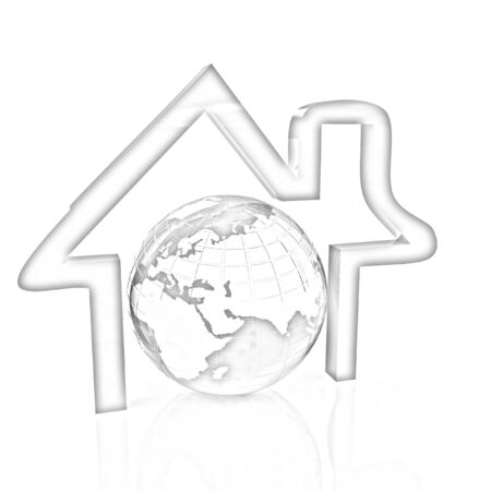 3d green icon house, earth on white background. Pencil drawing  photo
