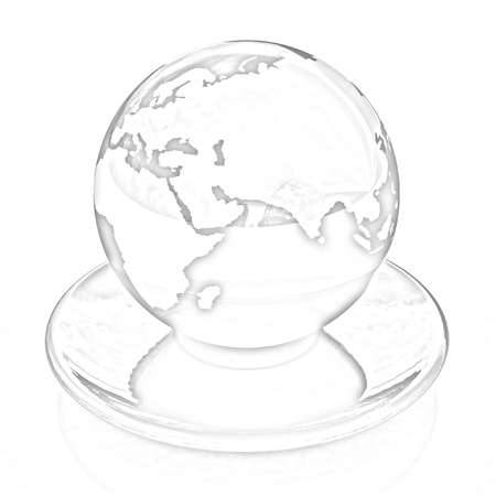 Globe on a saucer on a white background. Pencil drawing  photo