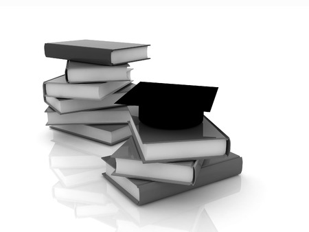 Graduation hat with books on a white background
