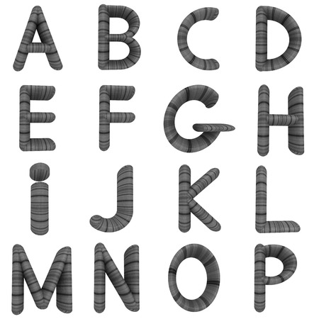 prinitng block: Wooden Alphabet set on a white background Stock Photo