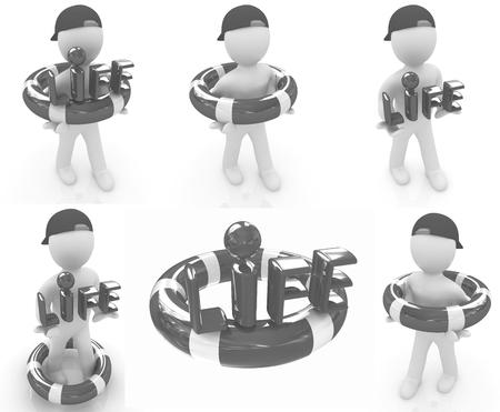 salvavidas: Set. Concepto de vida-ahorro con el hombre 3d Foto de archivo
