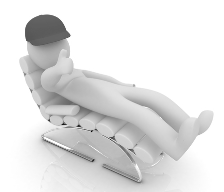 3d white man lying chair with thumb up on white background  Stock Photo