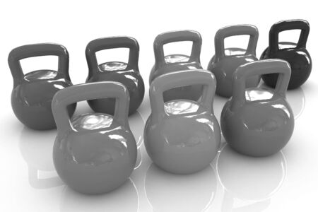 dumbell: Colorful weights on a white background Stock Photo