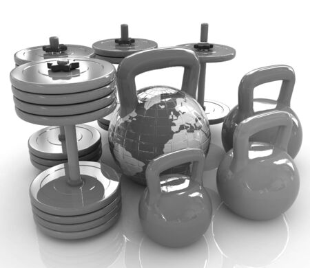 Colorful weights and dumbbells and earth. Global on a white background photo