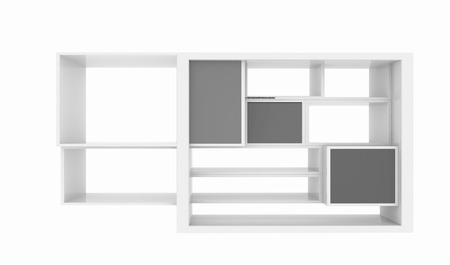 3d isolated Empty colorful bookshelf on a white background photo