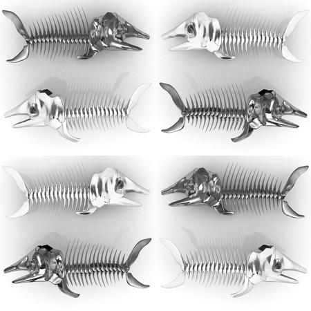 Set of 3d metall illustration of fish skeleton on a white background illustration