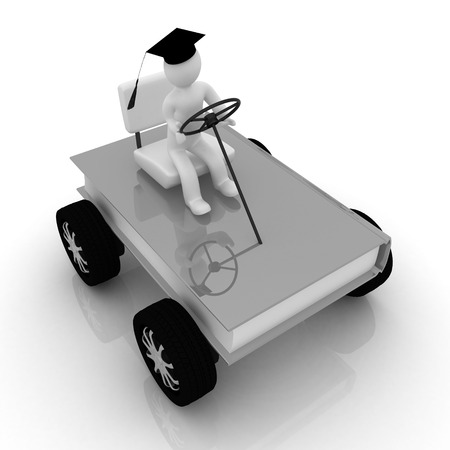 on race cars in the world of knowledge. The concept of rapid learning on a white background photo