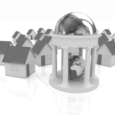 rotunda: Earth in rotunda and houses on a white background