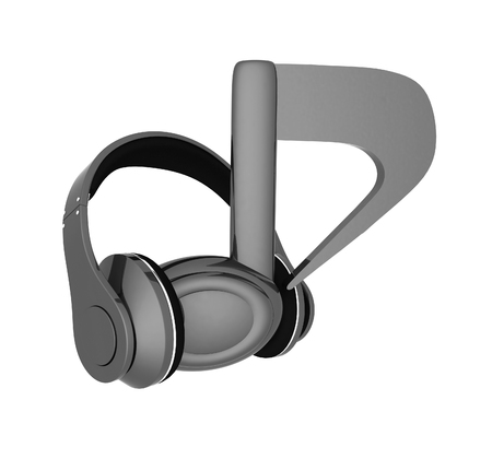 improvisation: headphones and 3d note on a white background Stock Photo