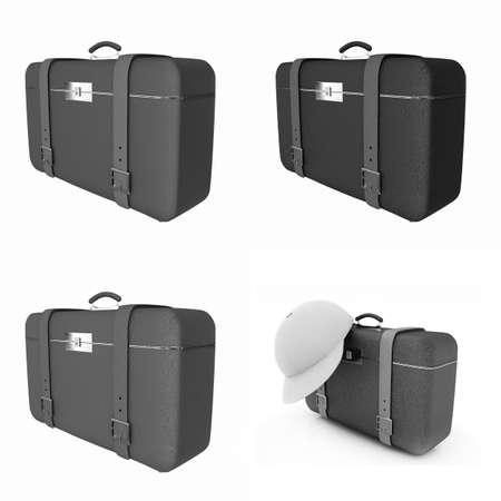 Travelers suitcase set on a white background photo