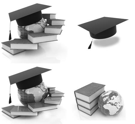 graduacion de universidad: Educación Global sobre un fondo blanco Foto de archivo