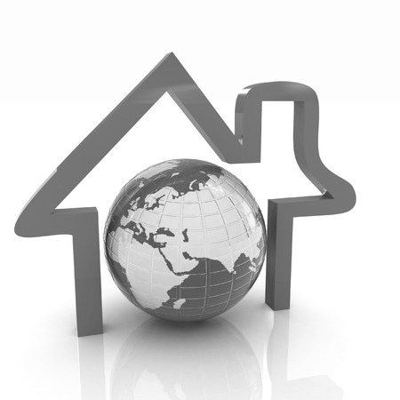 3d green icon house, earth on white background  photo