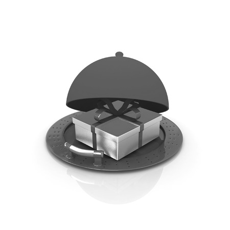 Illustration of a luxury gift on restaurant cloche on a white background illustration