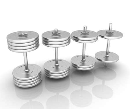 Metalll dumbbells on a white background photo