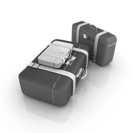 Travelers suitcases. Family travel concept photo