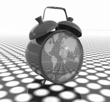 3d illustration of glossy clock of world map. Time concept illustration