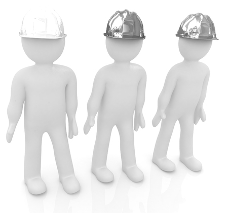 3d mans in a hard hat on a white background photo