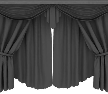 performing arts event: Red curtains isolated on a white background  Stock Photo