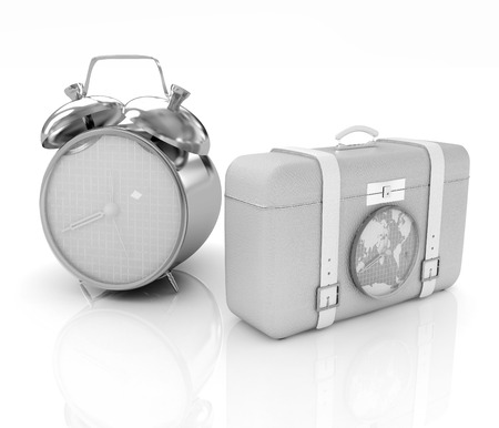 Suitcases for travel and clock photo