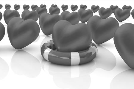 salvavidas: Corazones y cintur�n de la vida. Concepto de ahorro de la vida Foto de archivo