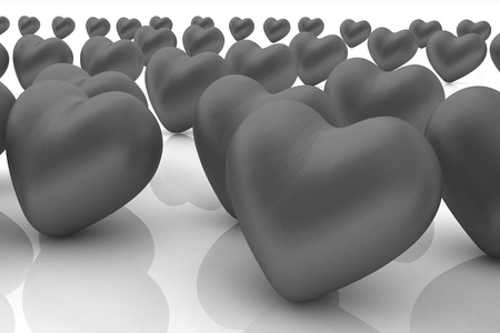 individualist: One red heart standing out in crowd  Stock Photo