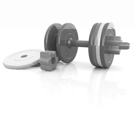 disassembly: Colorful dumbbells are assembly and disassembly on a white background Stock Photo
