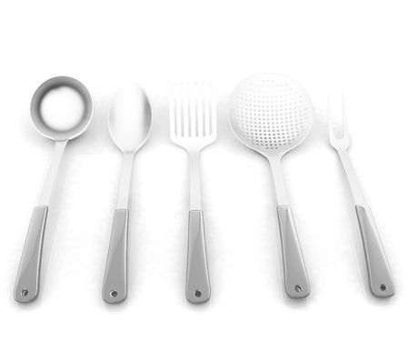 sizzle: cutlery on a white background  Stock Photo