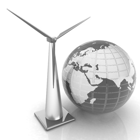 Wind turbine isolated on white. Global concept with eart photo