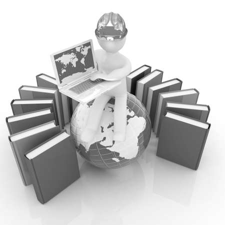 3d man in hard hat sitting on earth and working at his laptop and books around his on a white background photo