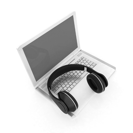 computer dancing: Headphone and Laptop