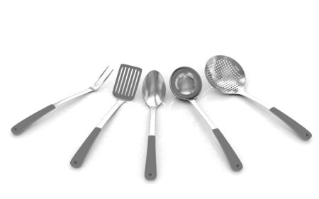 sizzle: cutlery on white background